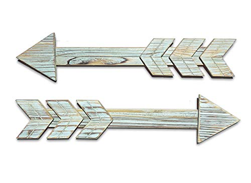 Wood Arrows Wall Decor, Set of 2 Farmhouse Blue Arrow Sign, Decorative Rustic Home Wall Hanging Décor.Home Living Room Dining Room Bedroom Size17''