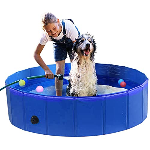 PAWZ Road Planschbecken Hundebadewanne, Faltbare Swimmingpool, Tragbare Hundepool für große Hunde, Wasserpark für die Hunde 80*20cm