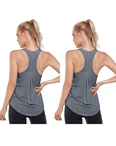 Promover 2 Pack Mujer Racerback Yoga Tank Tops Camiseta sin Mangas Deportiva Tirantes de Secado rápido Casual sin Mangas Athletic Running Chaleco