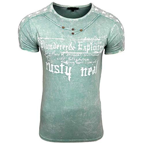 Herren T-Shirt Front Logo Print Stretch Shirt Verwaschen Oil Washed S - XXL 192, Größe:M, Farbe:Mint