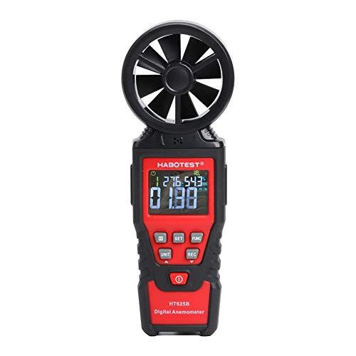 Anemometro Digital, medidor de Velocidad de Viento Manual LCD para medir la Velocidad del Viento, la Temperatura y el Viento frío con luz de Fondo y MAX/Min, multímetro