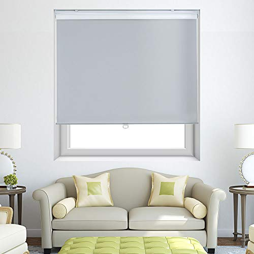 Persilux Cordless Window Blinds Blackout Roller Shades, Light Filtering UV Protection Energy Saving for Home and Office, Easy to Install (23''W x 72''H, Light Grey)