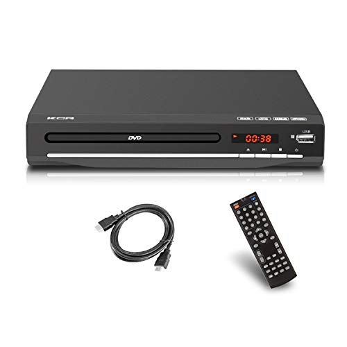 DVD-Player für TV, 1–6 verschiedene Regionen, DVD-Player, HDMI-Anschluss (kein Blu-ray), USB-Anschluss, Fernbedienung, DivX, Schwarz