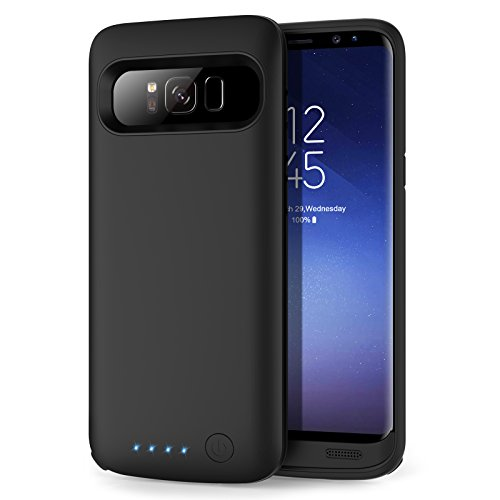 HETP Galaxy S8 Battery case 6000mAh, Protective Rechargeable External Battery Pack for Samsung Galaxy S8 Charging Case Portable Backup Power Bank for Galaxy S8 (5.8 inch) -Black