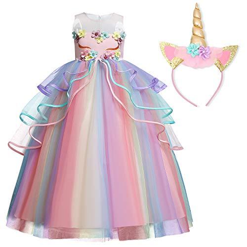 TTYAOVO Chicas Unicornio Fancy Vestido Princesa Flor Desfile de Niños Vestidos sin Mangas Volantes Vestido de Fiesta Talla(130) 5-6 años 719 Rosa