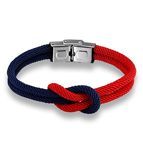 Pulsera Joyas Bracelet High Quailty Men Women Macaron Color Knot Leather Stainless Steel Buckle Navy Style Friendship Jewelry Pulseras Darkbl
