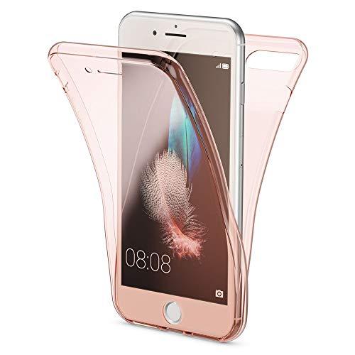 NALIA 360 Gradi Cover compatibile con Apple iPhone 7 Plus 8 Plus, Totale Custodia Protezione, Silicone Trasparente Sottile Full-Body Telefono Case, Protettiva Bumper Guscio, Colore:Rosa Gold Oro