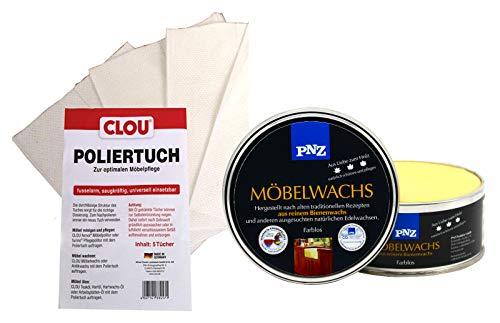 PNZ Möbelwachs Holzwachs farblos 0,5L Möbel Wachs Holz innen inkl. Poliertuch
