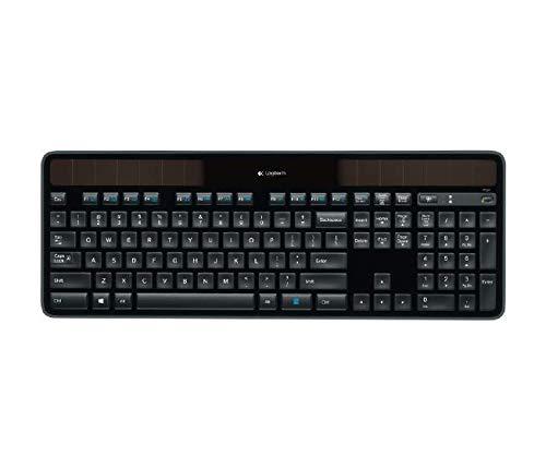 Logitech K750 Kabellose Tastatur, Solarbetrieben, 2.4 GHz Verbindung via Unifying USB-Empfänger, Hintergrundbeleuchtete Tasten, Super-Schmal & Ökologisch Angefertigt, Schweizer QWERTZ-Layout - schwarz