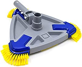 AgiiMan Pool Vacuum Head for Above Ground Pools, Inground Pool Vacuum Head with Swivel Hose Connection and EZ Clip Handle, Clean Corners - Safe for Vinyl Pools, Yellow