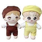 VogueMing Kpop New EXO NCT Shinee Bangtan Boy Plush Doll's Clothes T-Shirt +Pants +Berets Suit【no Doll】 (Yellow Set[no Doll], Suitable for 20cm Dolls)