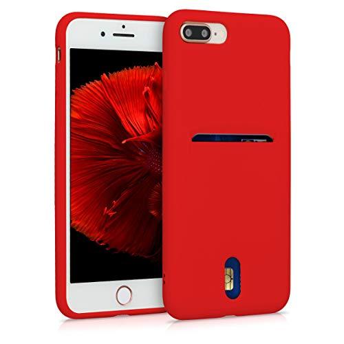 kwmobile Funda Compatible con Apple iPhone 7 Plus / 8 Plus - Carcasa de Silicona con Tarjetero y Acabado de Goma - Rojo