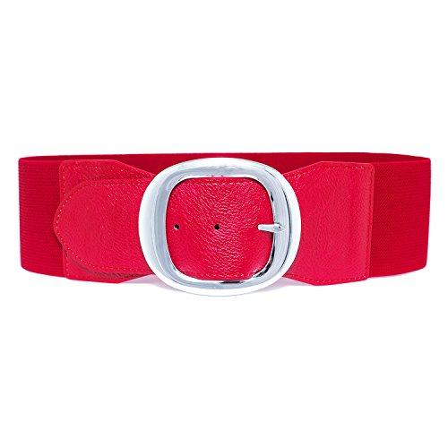 MYB Cintura elastica per donna con fibbia in metallo - altezza 75mm - Taglia Unica - diversi colori disponibili (Rosso)