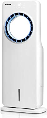 TOPYL Bladeless Air Cooler,Quiet Portable Electric Fan Evaporative Cooler with Remote Control,Safe Leafless Air Conditioner for Home Office Bedroom White 19x29.5x78cm(7x12x31inch)