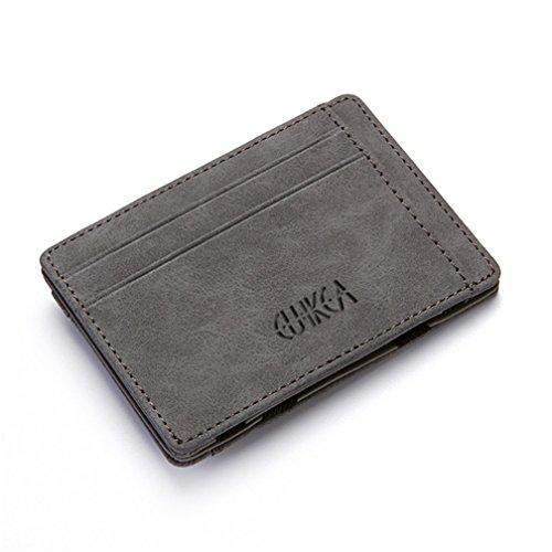 Cartera Pequeña de Cuero para Hombre, Kfnire Magia Monedero Bifold Tarjeteros Tarjetero Billetera con RFID Minimalista (Gris)