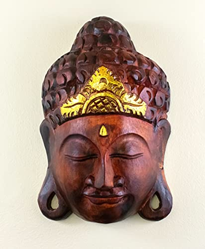 G6 COLLECTION 12' Wooden Wall Mask Serene Buddha Head Statue Hand Carved Sculpture Handmade Figurine Gift Home Decor Accent Handcrafted Art Wall Hanging Decoration Buddha Face Mask