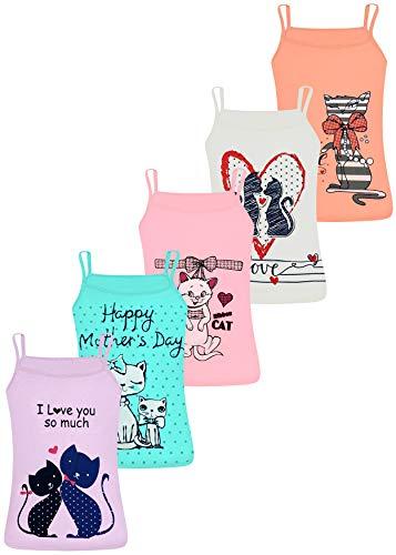 LOREZA ® 5 Camisetas de Tirantes Interiores para Niña Varios Motivos -...