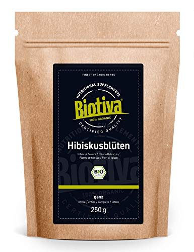 Hibiskusblüten Tee Bio 250g - hochwertiger Hibiskusblütentee (Hibisci flos) getrocknet - Abgefüllt und kontrolliert in Deutschland (DE-ÖKO-005)