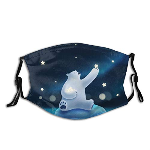Polar Bear Picking The Stars Polar Bear Aurora Animals Pattern Comfortable Stylish Mouth Protection Face Mask Balaclavas with 2 Filters Unisex Outdoor Dustproof
