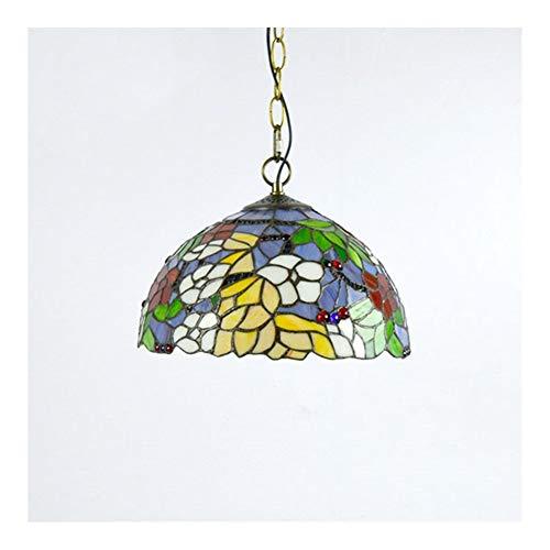 Tiffany Lamp Shade 12 pulgadas de estilo de tiffany lámpara colgante de vidrio colgante lámpara de techo lápiz luminaria luz vintage estilo luz para comedor sala de estar dormitorio estudio pasillo