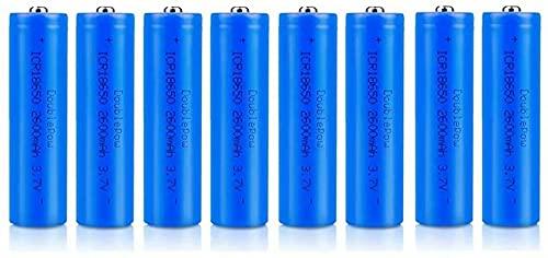 8 pcs 18650 de 3,7 V Recargables 2600 mAh de Gran Capacidad de Iones de Litio 18650 Baterías Recargables Pilas para Linterna LED, Dispositivos Electrónicos (Botón Top)