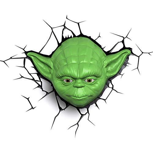 Luminaire Applique - Star Wars Yoda Mask 3D Applique Murale Décorative Bureau Etude Chambre Chevet Créatif Personnalité Éclairage (Couleur : A)