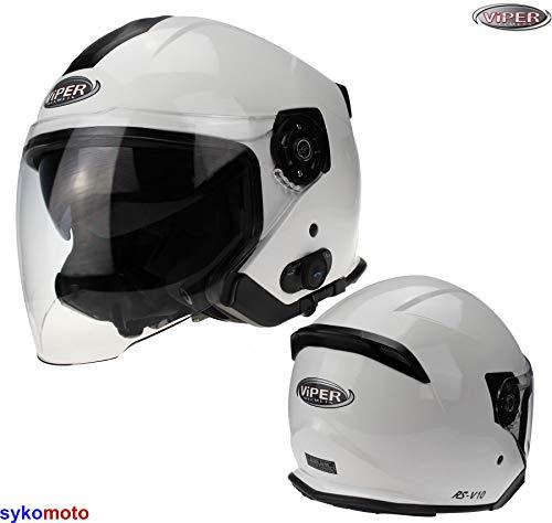 Viper RS-V10 Weiß Motorrad Helm offenem Gesicht Bluetooth Jet Fahrrad Helm Vespa Cruiser ECE Genehmigt (M (57-58 CM))