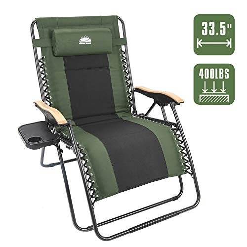 Coastrail Outdoor Oversized Zero Gravity Chair Wood Armrest Padded XXL Folding Patio Lounge Adjustable Recliner with Cup Holder & Side Table, 400lbs Weight Capacity, Green