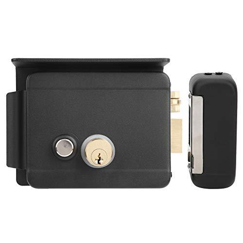 Cerradura de puerta electrónica DC 12V para intercomunicador de timbre, Control de acceso Sistema de seguridad Cerradura eléctrica, Derecha, Negro