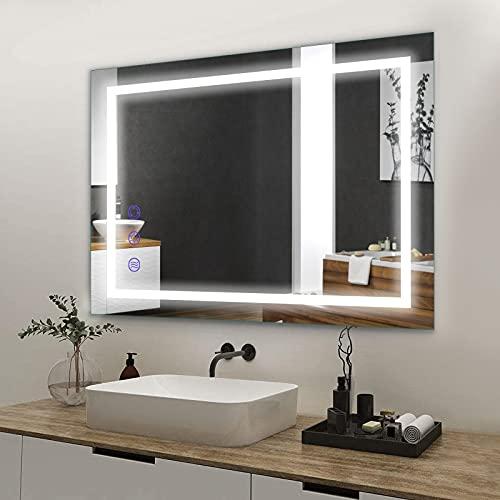 BONADE Espejo de Baño con Iluminación LED 50 x 70 cm Espejo de Baño con Interruptor Táctil y Función Antivaho Espejo de Pared Iluminado con luz Regulable, Blanco cálido / frío / Neutro IP65