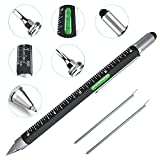 Cool Pen Gifts for Men, Cutier 6-in-1 Multi Tool Tech Pen Gadgets Tools for Men, Personalized Gifts for Dad or Him, Funny Gift for Christmas, Father's Day Valentines or Birthdays Gifts (Black)