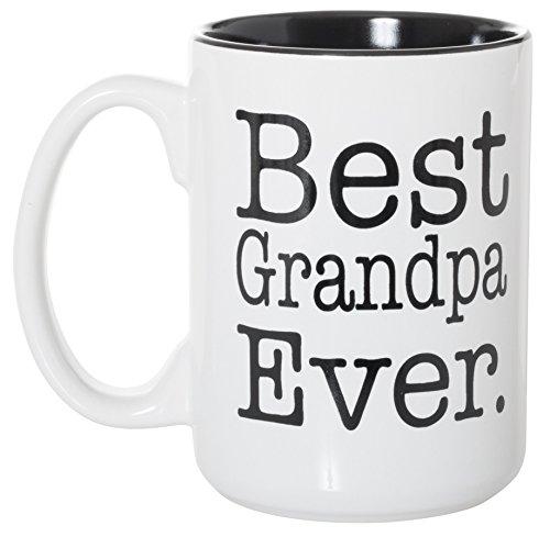 Best Grandpa Ever Black Inlay Large 15 oz Double-Sided Coffee Tea Mug