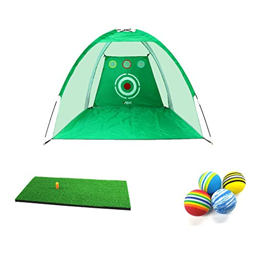 FLY CC Golf Practice Net, Indoors/Outdoors Driving Hitting Cage Training Aid Bundle Gift Set with 30X60cm Hit Mat + 12Pcs EVA Ball(Random Color),Green,10ft