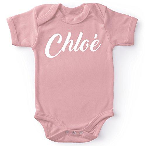 Body bébé manches courtes Filles Rose parodie Prénom - - Body bébé Chloé - Cadeau de naissance idéal - Body rose avec prénom imprimé à partir de 3 mois (Body bébé de qualité supérieure de taille 6 m