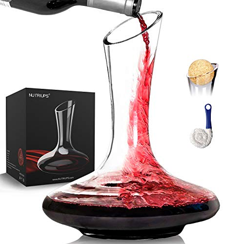 1.8L Clear Wine Decanter Carafe with Stopper and Cleaning Brush Hand Blown Crystal Glass Decanter Set Wine Decanters and Carafes Wine Gifts Set for Wine Lovers