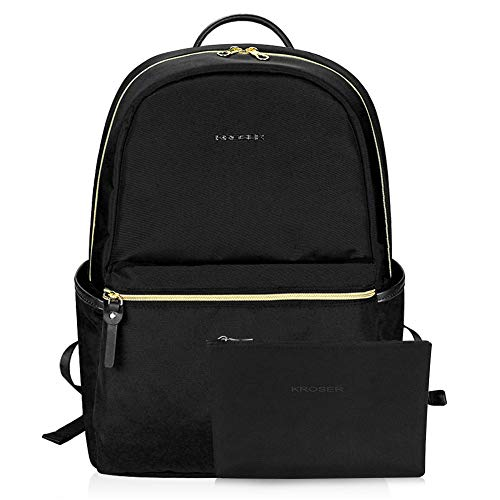 KROSER Laptop Backpack 15.6 Inch Upgraded Fashion School Backpack Water-Repellent Computer Backpack Laptop Bag Nylon Casual Daypack with USB Charging Port for Travel/Business/College/Women/Men-Black