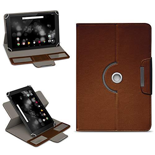 NAmobile TrekStor Primetab P10 Tasche Hülle Schutzhülle Tablet 360° Drehbar Case Cover, Farben:Braun