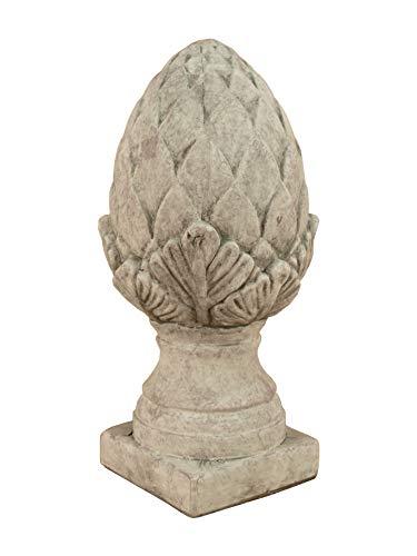 Küstenambiente Pinienzapfen auf Sockel grau Zeitlose Gartendeko 25,5cm Skulptur Gartenfigur Landhausstil