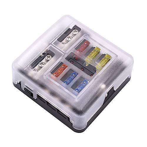 Caja de fusibles ATC ATO de 6 vías de alta calidad con kit de luz de advertencia LED, adecuado para coche, barco, triciclo marino, Yueshu Rv, autobús, yate, barco 32v