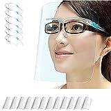 PETHREE Pantalla Protección Facial Transparente para Adultos y Estudiantes, Visera Protectora Face_Shield_Visor(con 12 viseras reemplazables y 6 monturas de gafas reutilizables)