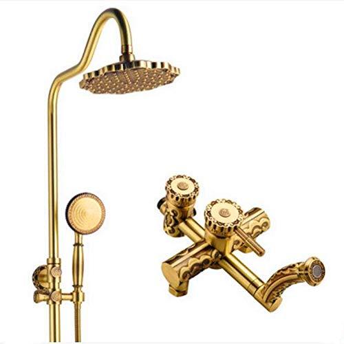 Setyn Shower Set Cabeza de Ducha de Estilo Europeo Antiguo de Todo Cobre Conjunto de Ducha de Ducha de Ducha de baño de Ducha de Cobre Sola manija Doble Control Doble (Color: -, Tamaño: -) Baño