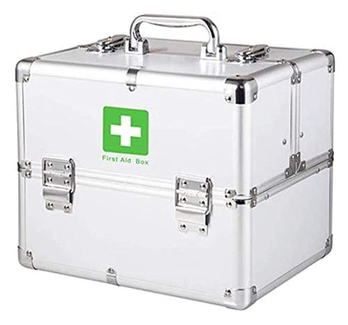 TINWG Portable small First Aid Box, Aluminium Lockable 2 Layer First Aid Case Storage Kit Designed for Family Emergency Care 1024 (Color : Silver)