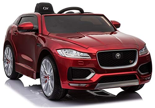 Vehículo infantil Jaguar F-Pace, color rojo, neumáticos de goma EVA, 2 x 45 W, coche