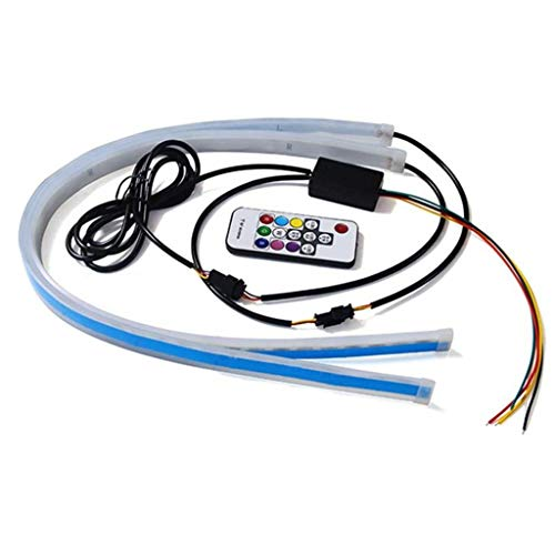 2 Stück Auto Sequentiell fließende RGB Tagfahrlicht DRL Fernbedienung LED Lichtleiste Utility zu verwenden