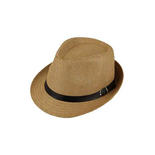 WYRKYP Sombrero de Sol Verano Plegable Sol Sombrero Hombre Y Mujer Playa Sombrero Sombrero Sombrero de Paja Moda Clásico Cinturón Cinturón Jazz Sombrero Pareja Vacaciones Sol Sombrero,Café Ligero2