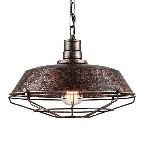 Lampenschirm, Aoweika Pendelleuchte Vintage Hängelampe Lampenschirm Hoehenverstellbar für Esstisch/Küche/Scheune/Flur/Veranda/Treppen(Ohnen Glühbirne), Ø 26 cm, Für E27 Fassung