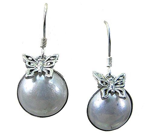 faithowl mariposa madre de perla 925pendientes de plata de ley