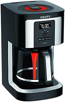 KRUPS, EC322, cafetera programable de 14 tazas, tono dorado permanente profesional, tecnología termobrew, negro