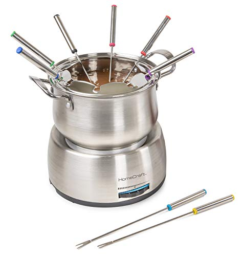 HomeCraft HCFP8SS 8-Cup Deluxe Stainless Steel Electric Chocolate Fondue Set With Die Cast Handles, 8 Color-Coded Forks, 2-Quart Capacity, Temperature Control