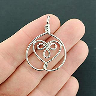 4 Celtic Knot Heart Charms Silver Tone 2 Sided Infinity Knot Jewerly Making Supply Bracelet DIY Crafting by Easy to be happy!